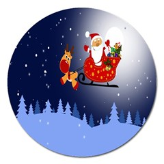 Deer Santa Claus Flying Trees Moon Night Merry Christmas Magnet 5  (round) by Alisyart