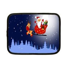 Deer Santa Claus Flying Trees Moon Night Merry Christmas Netbook Case (small)  by Alisyart