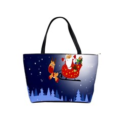 Deer Santa Claus Flying Trees Moon Night Merry Christmas Shoulder Handbags by Alisyart