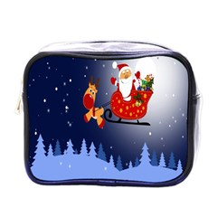 Deer Santa Claus Flying Trees Moon Night Merry Christmas Mini Toiletries Bags by Alisyart