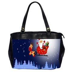 Deer Santa Claus Flying Trees Moon Night Merry Christmas Office Handbags (2 Sides)  by Alisyart