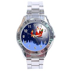 Deer Santa Claus Flying Trees Moon Night Merry Christmas Stainless Steel Analogue Watch by Alisyart
