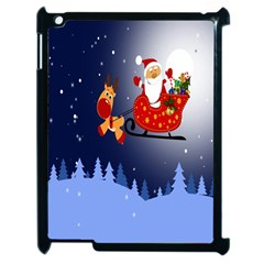 Deer Santa Claus Flying Trees Moon Night Merry Christmas Apple Ipad 2 Case (black) by Alisyart