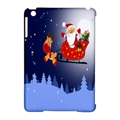 Deer Santa Claus Flying Trees Moon Night Merry Christmas Apple Ipad Mini Hardshell Case (compatible With Smart Cover) by Alisyart