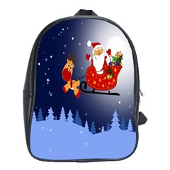Deer Santa Claus Flying Trees Moon Night Merry Christmas School Bag (xl) by Alisyart