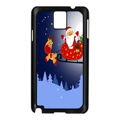 Deer Santa Claus Flying Trees Moon Night Merry Christmas Samsung Galaxy Note 3 N9005 Case (black) by Alisyart
