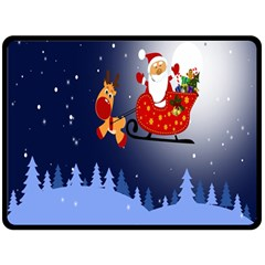 Deer Santa Claus Flying Trees Moon Night Merry Christmas Double Sided Fleece Blanket (large)  by Alisyart