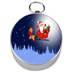 Deer Santa Claus Flying Trees Moon Night Merry Christmas Silver Compasses by Alisyart