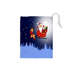 Deer Santa Claus Flying Trees Moon Night Merry Christmas Drawstring Pouches (small)  by Alisyart