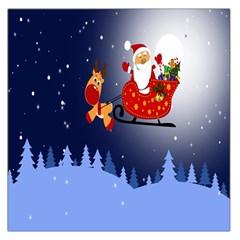 Deer Santa Claus Flying Trees Moon Night Merry Christmas Large Satin Scarf (square) by Alisyart