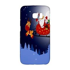 Deer Santa Claus Flying Trees Moon Night Merry Christmas Galaxy S6 Edge by Alisyart