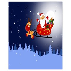 Deer Santa Claus Flying Trees Moon Night Merry Christmas Drawstring Bag (small) by Alisyart