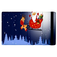 Deer Santa Claus Flying Trees Moon Night Merry Christmas Apple Ipad Pro 9 7   Flip Case