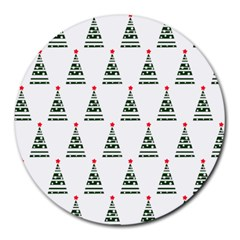 Christmas Tree Green Star Red Round Mousepads by Alisyart