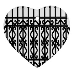 Inspirative Iron Gate Fence Grey Black Ornament (heart) by Alisyart