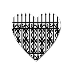 Inspirative Iron Gate Fence Grey Black Heart Magnet by Alisyart