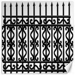 Inspirative Iron Gate Fence Grey Black Canvas 16  X 16   by Alisyart