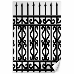 Inspirative Iron Gate Fence Grey Black Canvas 24  X 36  by Alisyart