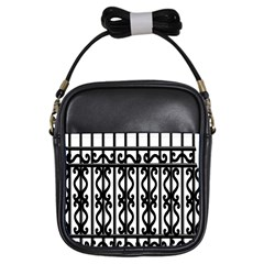 Inspirative Iron Gate Fence Grey Black Girls Sling Bags by Alisyart