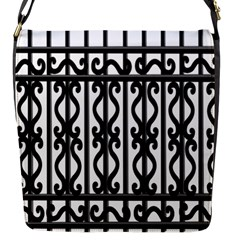 Inspirative Iron Gate Fence Grey Black Flap Messenger Bag (s) by Alisyart