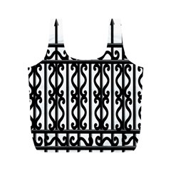 Inspirative Iron Gate Fence Grey Black Full Print Recycle Bags (m)  by Alisyart
