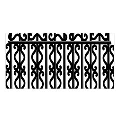 Inspirative Iron Gate Fence Grey Black Satin Shawl by Alisyart