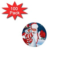 Hello Merry Christmas Santa Claus Snow Blue Sky 1  Mini Buttons (100 Pack)  by Alisyart