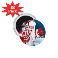 Hello Merry Christmas Santa Claus Snow Blue Sky 1 75  Magnets (100 Pack)  by Alisyart