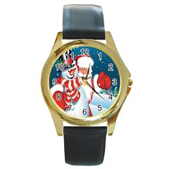 Hello Merry Christmas Santa Claus Snow Blue Sky Round Gold Metal Watch by Alisyart