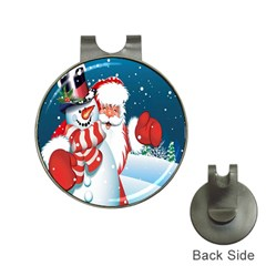 Hello Merry Christmas Santa Claus Snow Blue Sky Hat Clips With Golf Markers by Alisyart