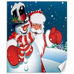 Hello Merry Christmas Santa Claus Snow Blue Sky Canvas 8  X 10  by Alisyart