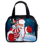 Hello Merry Christmas Santa Claus Snow Blue Sky Classic Handbags (2 Sides) Front