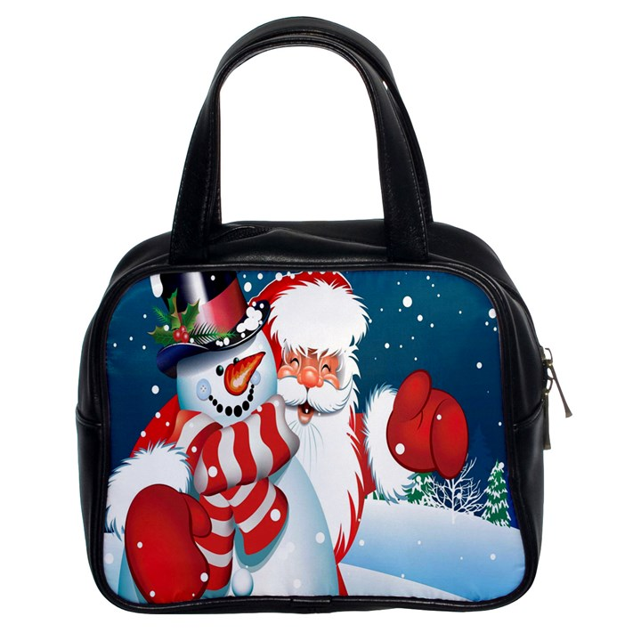 Hello Merry Christmas Santa Claus Snow Blue Sky Classic Handbags (2 Sides)