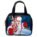 Hello Merry Christmas Santa Claus Snow Blue Sky Classic Handbags (2 Sides) Back
