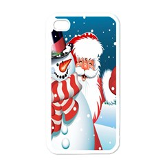 Hello Merry Christmas Santa Claus Snow Blue Sky Apple Iphone 4 Case (white) by Alisyart