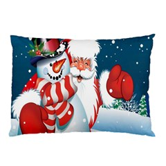 Hello Merry Christmas Santa Claus Snow Blue Sky Pillow Case (two Sides) by Alisyart