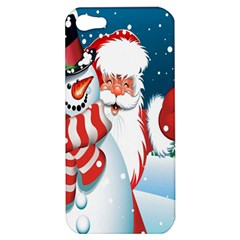 Hello Merry Christmas Santa Claus Snow Blue Sky Apple Iphone 5 Hardshell Case by Alisyart