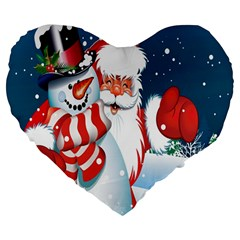Hello Merry Christmas Santa Claus Snow Blue Sky Large 19  Premium Heart Shape Cushions by Alisyart