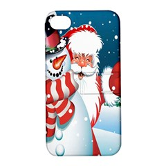 Hello Merry Christmas Santa Claus Snow Blue Sky Apple Iphone 4/4s Hardshell Case With Stand by Alisyart