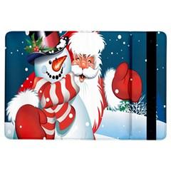 Hello Merry Christmas Santa Claus Snow Blue Sky Ipad Air Flip by Alisyart