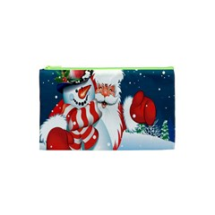 Hello Merry Christmas Santa Claus Snow Blue Sky Cosmetic Bag (xs) by Alisyart