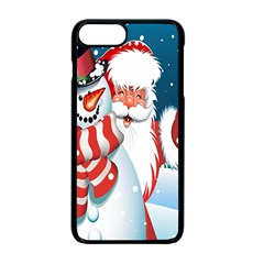 Hello Merry Christmas Santa Claus Snow Blue Sky Apple Iphone 7 Plus Seamless Case (black) by Alisyart