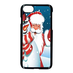 Hello Merry Christmas Santa Claus Snow Blue Sky Apple Iphone 7 Seamless Case (black) by Alisyart