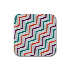Line Color Rainbow Rubber Square Coaster (4 Pack)  by Alisyart