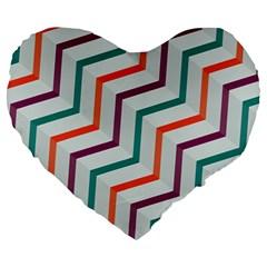 Line Color Rainbow Large 19  Premium Heart Shape Cushions by Alisyart