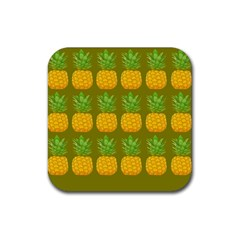 Fruite Pineapple Yellow Green Orange Rubber Square Coaster (4 Pack)  by Alisyart