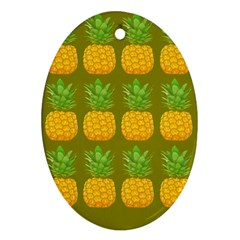 Fruite Pineapple Yellow Green Orange Oval Ornament (two Sides) by Alisyart