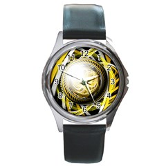 Incredible Eye Of A Yellow Construction Robot Round Metal Watch by jayaprime