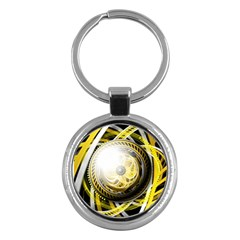 Incredible Eye Of A Yellow Construction Robot Key Chains (round)  by jayaprime