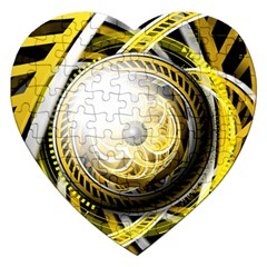 Incredible Eye Of A Yellow Construction Robot Jigsaw Puzzle (heart) by jayaprime